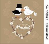 happy married over vintage... | Shutterstock .eps vector #150020792
