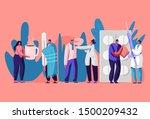 patients men and women visiting ... | Shutterstock .eps vector #1500209432
