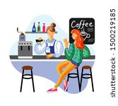Stock vector coffee break lunch flat vector illustration cheerful client and cafeteria employee cartoon 1500219185