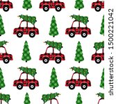 buffalo plaid christmas car... | Shutterstock .eps vector #1500221042