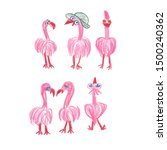 pink flamingo  funny animation  ...   Shutterstock . vector #1500240362