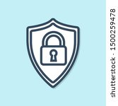 blue line shield security with... | Shutterstock .eps vector #1500259478