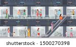 people shopping in a shopping... | Shutterstock .eps vector #1500270398