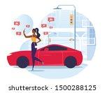 blogger taking photo flat... | Shutterstock .eps vector #1500288125