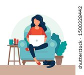 girl with laptop on the chair.... | Shutterstock .eps vector #1500328442