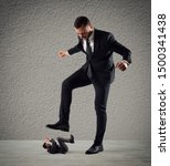 Small photo of Furious businessman who want to trample his employee