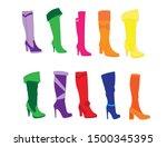 beautiful women winter stylish...   Shutterstock . vector #1500345395