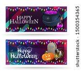 happy halloween  two horizontal ... | Shutterstock .eps vector #1500354365