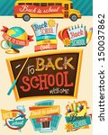 back to school design template  | Shutterstock .eps vector #150037862