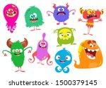 cute cartoon monsters. set of... | Shutterstock .eps vector #1500379145