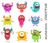 cute cartoon monsters. set of... | Shutterstock .eps vector #1500379148