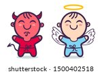 angel and devil. good and bad.... | Shutterstock .eps vector #1500402518