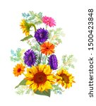 bouquet autumn flowers  yellow...   Shutterstock .eps vector #1500423848