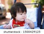 cute asian baby in a stroller   Shutterstock . vector #1500429125