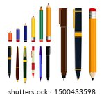 set of pencil or ballpoint in... | Shutterstock .eps vector #1500433598