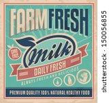 retro farm fresh milk concept.... | Shutterstock .eps vector #150056855