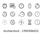 time and clock set of linear... | Shutterstock .eps vector #1500586022