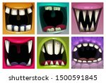 creppy fantasy monsters mouth... | Shutterstock .eps vector #1500591845
