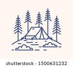 camping tent in forest outline... | Shutterstock .eps vector #1500631232