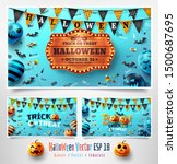 set of halloween posters with... | Shutterstock .eps vector #1500687695