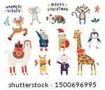 big christmas set with cute... | Shutterstock .eps vector #1500696995
