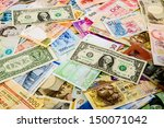 Stock photo currency banknotes spread overlapping united states british european union new zealand japan 150071042