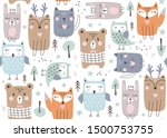 seamless pattern with cute...   Shutterstock .eps vector #1500753755