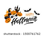 happy halloween. hand drawn... | Shutterstock .eps vector #1500761762