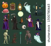 halloween vector icons with... | Shutterstock .eps vector #1500780665