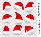christmas santa claus hats with ... | Shutterstock .eps vector #1500787718