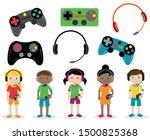 vector set of gamer themed...   Shutterstock .eps vector #1500825368