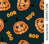 pumpkins  funny faces   boo... | Shutterstock .eps vector #1500917108