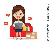 businesswoman shopping online... | Shutterstock .eps vector #1500923522