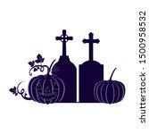 halloween pumpkin with scary... | Shutterstock .eps vector #1500958532