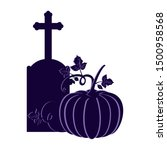 tombstone with pumpkin on white ... | Shutterstock .eps vector #1500958568