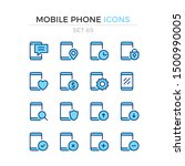 mobile phone icons. vector line ... | Shutterstock .eps vector #1500990005