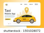 taxi mobile app. flat style.... | Shutterstock .eps vector #1501028072