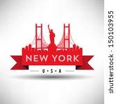modern new york skyline ribbon   Shutterstock .eps vector #150103955
