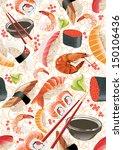 sushi seamless pattern | Shutterstock .eps vector #150106436