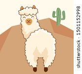 Cute Alpaca Cartoon Vector...