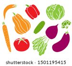 vegetable hand drawn vector... | Shutterstock .eps vector #1501195415