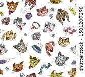 puppy and kitten   cartoon...   Shutterstock . vector #1501207298