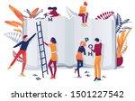cartoon man woman put letters...   Shutterstock .eps vector #1501227542