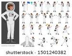 set of astronaut woman people...   Shutterstock .eps vector #1501240382