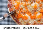 pizza salmon in tomato sauce | Shutterstock . vector #1501255562