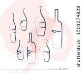 vector hand drawn wine bottles... | Shutterstock .eps vector #1501274828