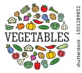 set of vegetables color icons... | Shutterstock .eps vector #1501289852