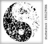 grunge yin yang symbol  | Shutterstock .eps vector #150129086
