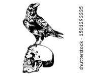 Horror Skull Crow Black Vector ...