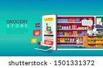 online grocery store shopping... | Shutterstock .eps vector #1501331372